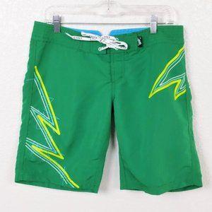 Lost Bright Green Board Shorts Sz 7